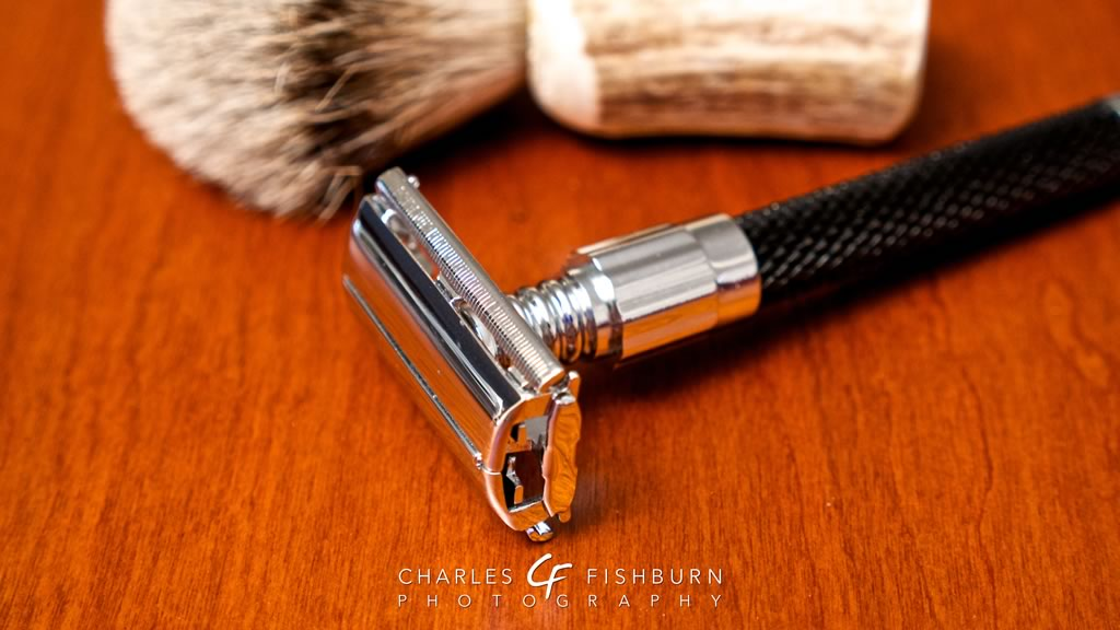 Parker 92R double-edge safety razor with badger hair brush