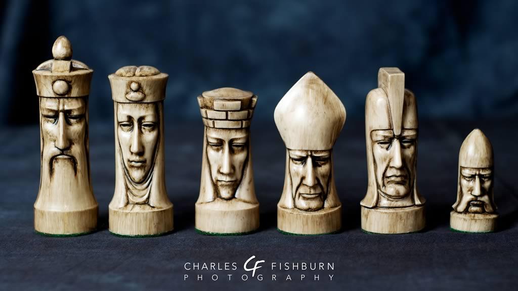 Superb Large Duncan Ceramic Chess Pieces Vintage Set Peter White Bisque