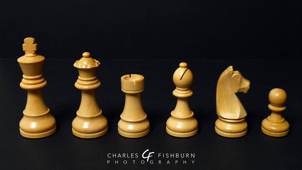 German Knight chess set, white pieces